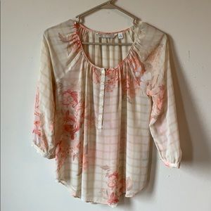 Sheer Floral Lauren Conrad Top w/3/4 sleeves